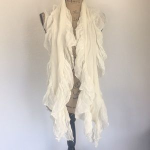 Adorable cream and silver scarf with ruffles